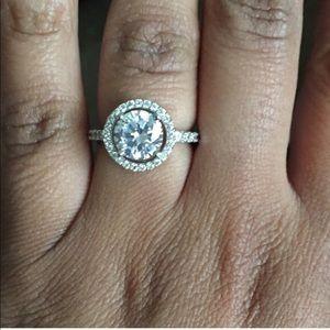 Jewelry - 1.6 Halo diamond silver 925 ring round cut new